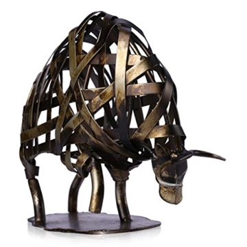 Tooarts Metall Geflochtene Rind Deko Skulptur Dekofigur Moderne Skulptur zum Dekorieren - 5