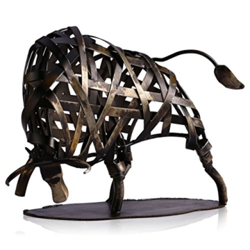 Tooarts Metall Geflochtene Rind Deko Skulptur Dekofigur Moderne Skulptur zum Dekorieren - 6