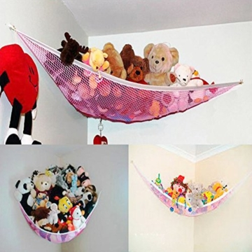 Yuccer Spielzeug Hängematte, Aufbewahrung Netz für Kuscheltiere Hängetasche für Kinder und Kleinkinder Spielzeug Veranstalter Storage Net (Rosa) - 3