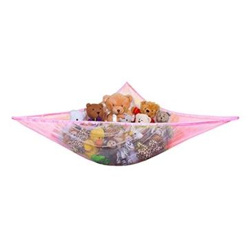 Yuccer Spielzeug Hängematte, Aufbewahrung Netz für Kuscheltiere Hängetasche für Kinder und Kleinkinder Spielzeug Veranstalter Storage Net (Rosa) - 1