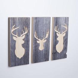 3er Set - Holzbilder mit Hirsch Motiven (Wanddeko mehrteilig aus Holz) Deko Bild handgemacht für die Wand - 1