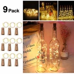9x 20 LED Flaschen-Licht, Flaschenlichter Weinflasche Flaschenlicht Kork Flaschen Licht LED Lichter Lichterkette Flaschen DIY- Flaschen Lichter für Hochzeit Party Romantische Deko,Warm-weiß - 1