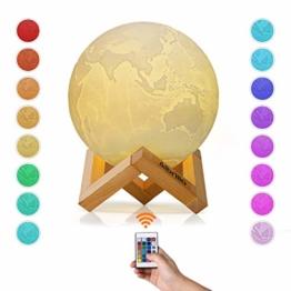Albrillo RGB 3D Erde Lampe 15cm mit Remote & Touch Control, 16 Lichtfarben und dimmbar Nachtlicht, USB Wiederaufladbar als Deko und Geschenke, 12.5um Oberflächengenauigkeit - 1