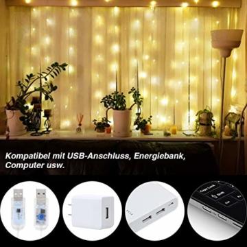 Anpro LED USB Lichtervorhang 3m x 3m, 300 LEDs USB Lichterkettenvorhang mit 8 Lichtmodelle für Partydekoration deko schlafzimmer, Innenbeleuchtung, Warmweiß - 4