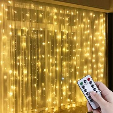 Anpro LED USB Lichtervorhang 3m x 3m, 300 LEDs USB Lichterkettenvorhang mit 8 Lichtmodelle für Partydekoration deko schlafzimmer, Innenbeleuchtung, Warmweiß - 1