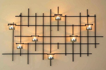DanDiBo Wandteelichthalter 7XXL Wandkerzenhalter Metall 83 cm Teelichthalter Kerzenhalter - 1