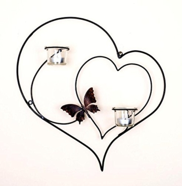 DanDiBo Wandteelichthalter Herz 39 cm Schwarz Teelichthalter Metall Wandleuchter Kerze - 3