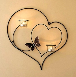 DanDiBo Wandteelichthalter Herz 39 cm Schwarz Teelichthalter Metall Wandleuchter Kerze - 1