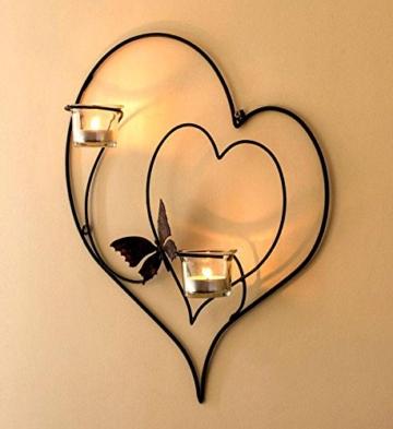 DanDiBo Wandteelichthalter Herz 39 cm Schwarz Teelichthalter Metall Wandleuchter Kerze - 4