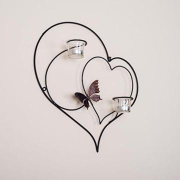 DanDiBo Wandteelichthalter Herz 39 cm Schwarz Teelichthalter Metall Wandleuchter Kerze - 5