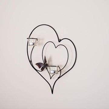 DanDiBo Wandteelichthalter Herz 39 cm Schwarz Teelichthalter Metall Wandleuchter Kerze - 6