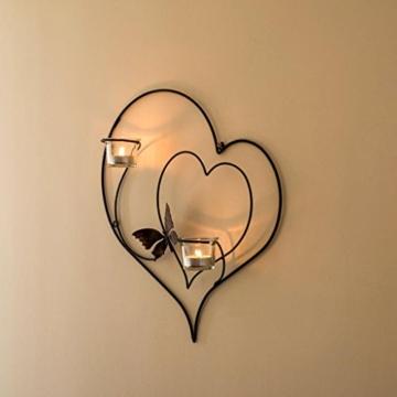 DanDiBo Wandteelichthalter Herz 39 cm Schwarz Teelichthalter Metall Wandleuchter Kerze - 7