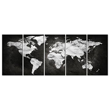 decomonkey Bilder Weltkarte schwarz 225x90 cm 5 Teilig Leinwandbilder Bild auf Leinwand Vlies Wandbild Kunstdruck Wanddeko Wand Wohnzimmer Wanddekoration Deko grau Welt Karte Kontinente Landkarte - 3
