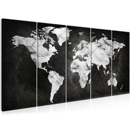 decomonkey Bilder Weltkarte schwarz 225x90 cm 5 Teilig Leinwandbilder Bild auf Leinwand Vlies Wandbild Kunstdruck Wanddeko Wand Wohnzimmer Wanddekoration Deko grau Welt Karte Kontinente Landkarte - 1