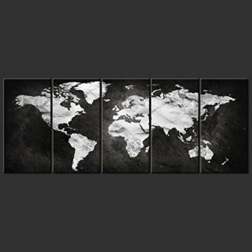decomonkey Bilder Weltkarte schwarz 225x90 cm 5 Teilig Leinwandbilder Bild auf Leinwand Vlies Wandbild Kunstdruck Wanddeko Wand Wohnzimmer Wanddekoration Deko grau Welt Karte Kontinente Landkarte - 4