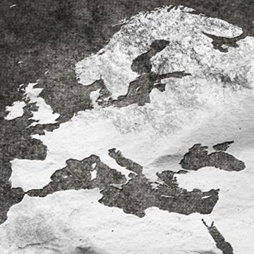 decomonkey Bilder Weltkarte schwarz 225x90 cm 5 Teilig Leinwandbilder Bild auf Leinwand Vlies Wandbild Kunstdruck Wanddeko Wand Wohnzimmer Wanddekoration Deko grau Welt Karte Kontinente Landkarte - 5
