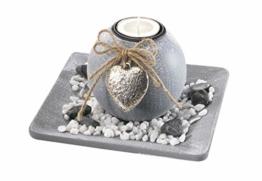 Dekoschale aus Holz mit einer Kerze - 1