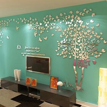 DIY 3D Riesiger Baum Paar Wandtattoos Wandaufkleber Kristall Acryl Malen Wanddeko Wandkunst (L, Silber, Links) - 2