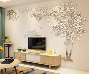 DIY 3D Riesiger Baum Paar Wandtattoos Wandaufkleber Kristall Acryl Malen Wanddeko Wandkunst (L, Silber, Links) - 3