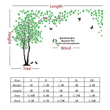 DIY 3D Riesiger Baum Paar Wandtattoos Wandaufkleber Kristall Acryl Malen Wanddeko Wandkunst (L, Silber, Links) - 4