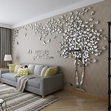 DIY 3D Riesiger Baum Paar Wandtattoos Wandaufkleber Kristall Acryl Malen Wanddeko Wandkunst (L, Silber, Links) - 1