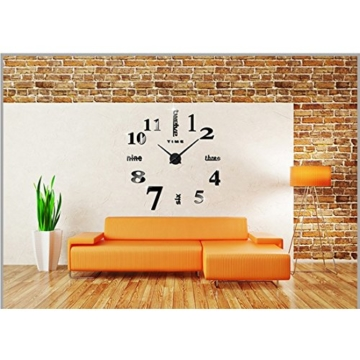 DIY 3D Wanduhren Modern Design Acryl Wanduhren Wandtattoo Dekoration fürs Wohnzimmer Kinderzimmer (Schwarz) - 2