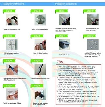 DIY 3D Wanduhren Modern Design Acryl Wanduhren Wandtattoo Dekoration fürs Wohnzimmer Kinderzimmer (Schwarz) - 5