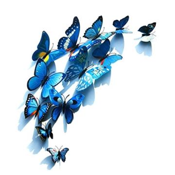 Foonii® 108 PCS 3D Schmetterlinge Wanddeko Aufkleber Abziehbilder,Kunststoff Schmetterling Dekorationen (12 Blau, 12 Farbe, 12 Grün, 12 Gelb, 12 Rosa, 12 Rot, 12 Weiß, 12 Lebensecht, 12 Lila) - 3