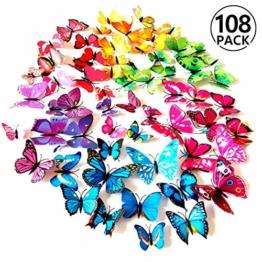 Foonii® 108 PCS 3D Schmetterlinge Wanddeko Aufkleber Abziehbilder,Kunststoff Schmetterling Dekorationen (12 Blau, 12 Farbe, 12 Grün, 12 Gelb, 12 Rosa, 12 Rot, 12 Weiß, 12 Lebensecht, 12 Lila) - 1
