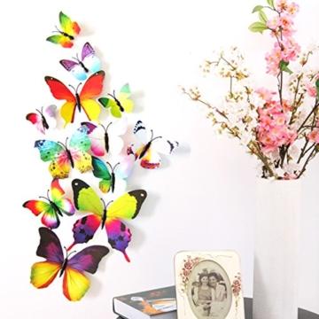 Foonii® 108 PCS 3D Schmetterlinge Wanddeko Aufkleber Abziehbilder,Kunststoff Schmetterling Dekorationen (12 Blau, 12 Farbe, 12 Grün, 12 Gelb, 12 Rosa, 12 Rot, 12 Weiß, 12 Lebensecht, 12 Lila) - 4
