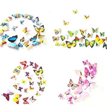 Foonii® 108 PCS 3D Schmetterlinge Wanddeko Aufkleber Abziehbilder,Kunststoff Schmetterling Dekorationen (12 Blau, 12 Farbe, 12 Grün, 12 Gelb, 12 Rosa, 12 Rot, 12 Weiß, 12 Lebensecht, 12 Lila) - 5