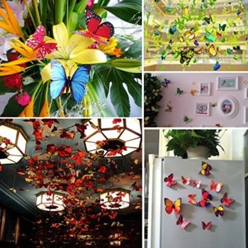 Foonii® 108 PCS 3D Schmetterlinge Wanddeko Aufkleber Abziehbilder,Kunststoff Schmetterling Dekorationen (12 Blau, 12 Farbe, 12 Grün, 12 Gelb, 12 Rosa, 12 Rot, 12 Weiß, 12 Lebensecht, 12 Lila) - 6