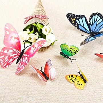 Foonii® 108 PCS 3D Schmetterlinge Wanddeko Aufkleber Abziehbilder,Kunststoff Schmetterling Dekorationen (12 Blau, 12 Farbe, 12 Grün, 12 Gelb, 12 Rosa, 12 Rot, 12 Weiß, 12 Lebensecht, 12 Lila) - 7