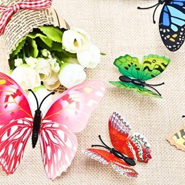 Foonii® 108 PCS 3D Schmetterlinge Wanddeko Aufkleber Abziehbilder,Kunststoff Schmetterling Dekorationen (12 Blau, 12 Farbe, 12 Grün, 12 Gelb, 12 Rosa, 12 Rot, 12 Weiß, 12 Lebensecht, 12 Lila) - 8