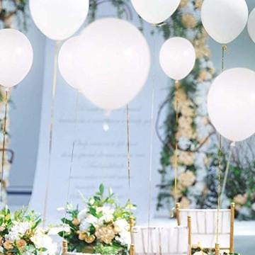 lifeban Leuchtende Luftballons 50 Stück Weiß LED Luftballons Lichter mit Band für Hochzeit Weihnachten Geburtstag Luftballon Party Deko (Weiß) - 3