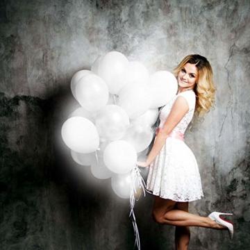 lifeban Leuchtende Luftballons 50 Stück Weiß LED Luftballons Lichter mit Band für Hochzeit Weihnachten Geburtstag Luftballon Party Deko (Weiß) - 4