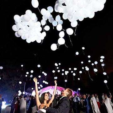 lifeban Leuchtende Luftballons 50 Stück Weiß LED Luftballons Lichter mit Band für Hochzeit Weihnachten Geburtstag Luftballon Party Deko (Weiß) - 5