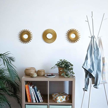Spiegel Rund Gold 3 Stück - BONNYCO | Spiegel Klein Wanddeko Wohnzimmer Haus und Schlafzimmer | Spiegel Wand zum Aufhängen und Dekorieren | Spiegel Vintage Originelles Geschenk für Frauen und Mama - 5