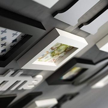TGDY Fotorahmen Wand Massivholz Galerierahmen Kombi Collage Kreativ Bilderwand Wand Fotorahmen Restaurant Hintergrund Wanddeko Wanddeko Wandkollektion 10er Set Mode Schwarz - 4