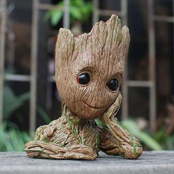 TPK Baby Groot Blumentopf Figur - Übertopf Groß Aquarium Deko Figur Holz Aschenbecher Stiftehalter - Innen - 3