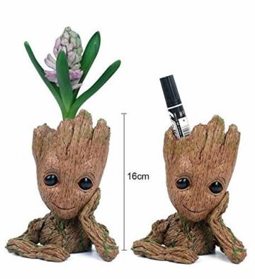 TPK Baby Groot Blumentopf Figur - Übertopf Groß Aquarium Deko Figur Holz Aschenbecher Stiftehalter - Innen - 4