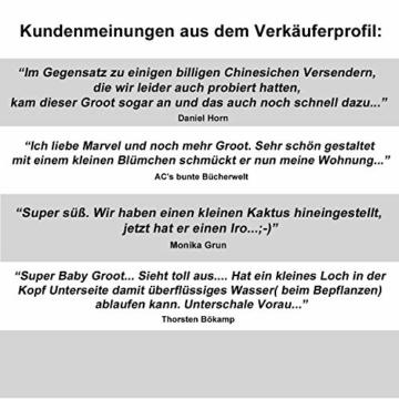 TPK Baby Groot Blumentopf Figur - Übertopf Groß Aquarium Deko Figur Holz Aschenbecher Stiftehalter - Innen - 5
