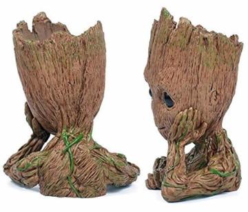 TPK Baby Groot Blumentopf Figur - Übertopf Groß Aquarium Deko Figur Holz Aschenbecher Stiftehalter - Innen - 6