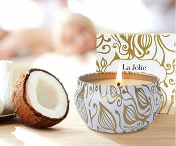 La Jolíe Muse Duftkerze Vanille Kokosnuss 100% Sojawachs Kerze in Dose Geschenk 185g 45Std - 2