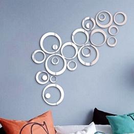 24 Stück Spiegel Wandaufkleber Kreise Rund Wandsticker Wandtatoo Spiegel Wanddeko Wandkunst Selbstklebend Abnehmbar für Schlafzimmer, Wohnzimmer, Haus Deko - 1