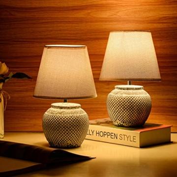 2er Set BRUBAKER Tisch- oder Nachttischlampen - 30,5 cm - Grau - Keramik Lampenfüße - Leinen Schirme Hellgrau - 2