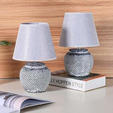 2er Set BRUBAKER Tisch- oder Nachttischlampen - 30,5 cm - Grau - Keramik Lampenfüße - Leinen Schirme Hellgrau - 3