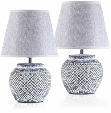 2er Set BRUBAKER Tisch- oder Nachttischlampen - 30,5 cm - Grau - Keramik Lampenfüße - Leinen Schirme Hellgrau - 1