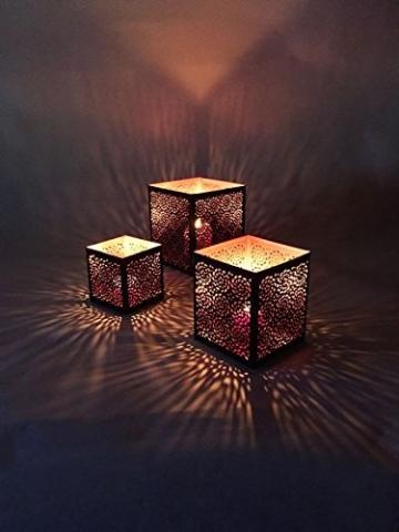 3er Set Orientalisches Windlicht Laterne orientalisch Aleyna 14cm Groß | Orientalische Vintage Teelichthalter Kupferfarben innen schwarz außen | Marokkanische Windlichter aus Metall als Dekoration - 2