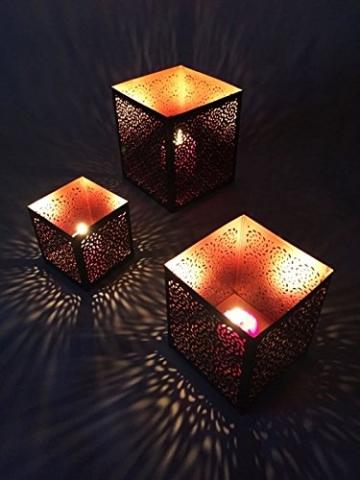 3er Set Orientalisches Windlicht Laterne orientalisch Aleyna 14cm Groß | Orientalische Vintage Teelichthalter Kupferfarben innen schwarz außen | Marokkanische Windlichter aus Metall als Dekoration - 3